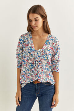 Springfield PRINTED PUSSY BOW BLOUSE natural