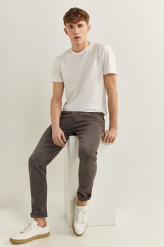 Springfield Slim fit washed 5-pocket trousers grey mix