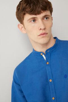 Springfield Linen mandarin shirt blue