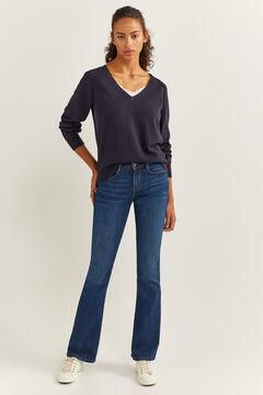 Springfield Lace Trim Neckline Jumper blue