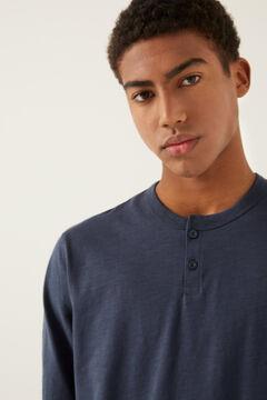 Springfield Camisola de manga comprida e gola padeiro azulado