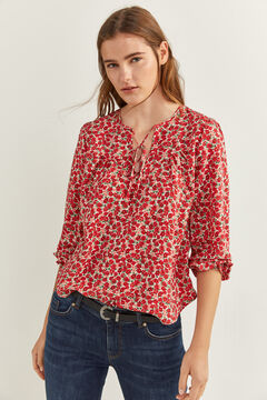 Springfield Printed V-Neck Blouse bordeaux