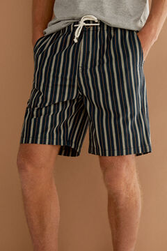 Springfield Striped drawstring Bermuda shorts blue