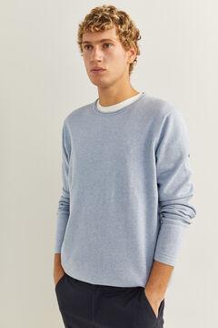 Springfield Klassischer Pullover Baumwolle Ellenbogenschützer blauer stahl