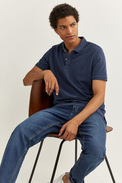 Springfield ESSENTIAL SLIM FIT ALL-OVER POLO SHIRT bluish