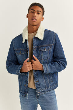 Springfield MEDIUM-DARK WASH DENIM JACKET WITH SHEEPSKIN bluish