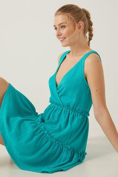 Springfield Short dress with flounced skirt green