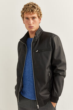Springfield FAUX LEATHER BIKER JACKET black