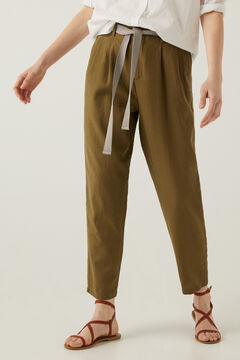 Springfield Linen trousers with belt dark gray