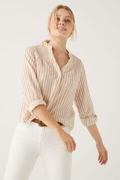 Springfield Organic cotton lurex striped blouse medium beige
