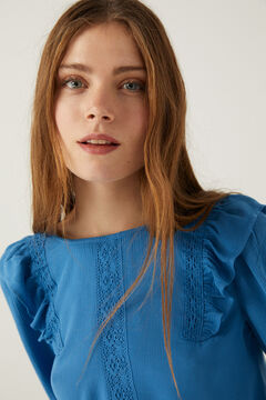Springfield Flounced crochet blouse petrol