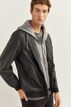 Springfield FAUX LEATHER BOMBER JACKET WITH REMOVABLE HOOD black