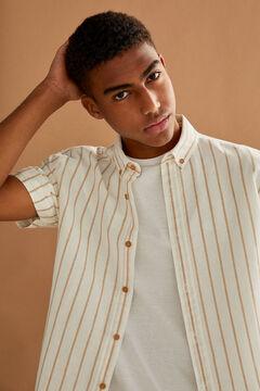 Springfield Striped linen shirt camel