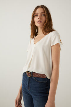 Springfield Plain two-material t-shirt ecru