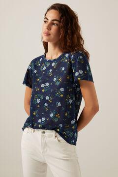 Springfield Crochet shoulders printed T-shirt blue mix