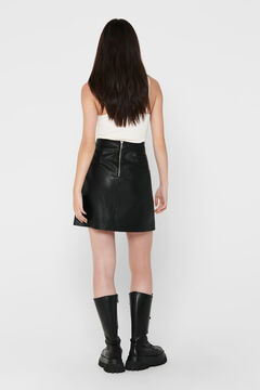 Springfield Leather effect skirt with back zip schwarz