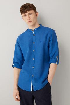 Springfield Camisa lino mao azul