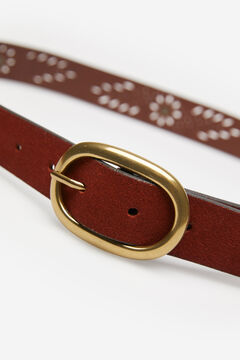 Springfield Suede Leather Cutwork Belt brown