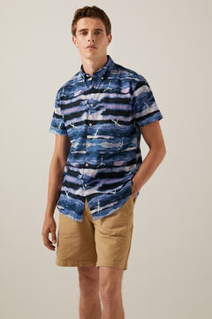 Springfield Camisa estampada marinho mistura
