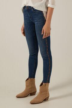 Springfield Jeans slim cropped bordado lavagem sustentável azul