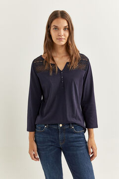 Springfield Lace and buttons T-shirt navy mix
