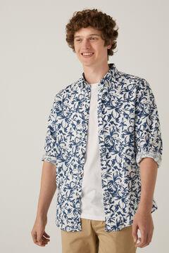 Springfield Camisa lino estampada navy mezcla