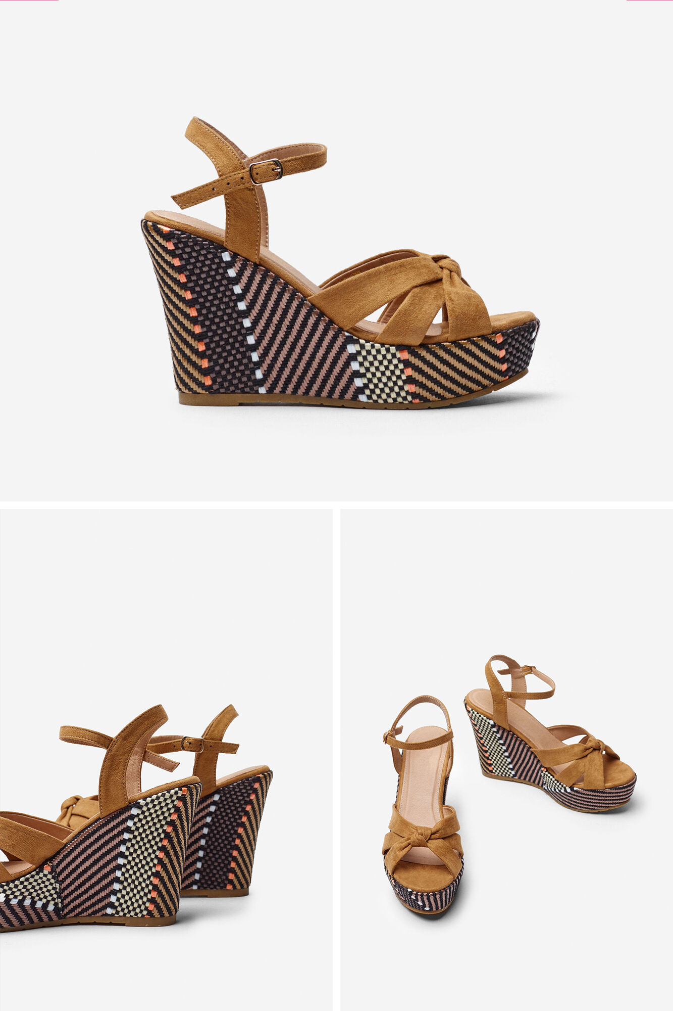 Springfield RAFFIA WEDGE SANDALS brown