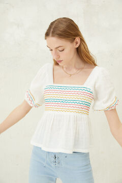 Springfield Multicoloured embroidered blouse white