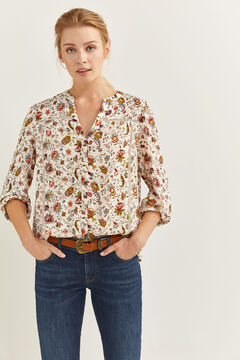 Springfield Printed Lace Blouse camel