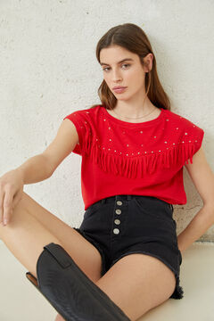 Springfield Studs and fringed t-shirt red