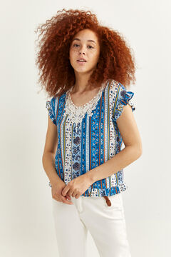 Springfield Lace neckline borders blouse blue