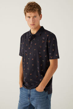 Springfield All-over print cotton polo shirt blue