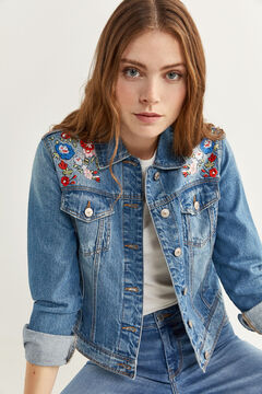 Springfield Embroidered Denim Jacket steel blue