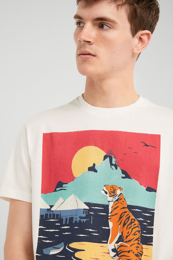 ff7d2824c Springfield Camiseta manga corta tiger poster crudo
