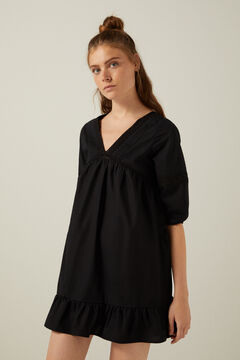 Springfield Black lace trim voluminous sleeves dress black