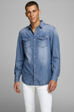 Springfield Sustainable denim shirt bluish
