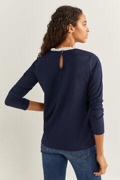 Springfield Camiseta cuello fantasía azul