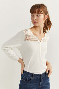 Springfield Lace and buttons T-shirt natural
