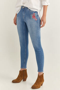 Springfield Floral Embroidery Jeans blue