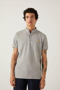 Springfield Slim fit mandarin comfort polo shirt gray