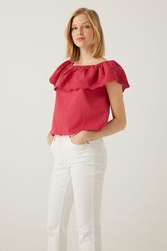 Springfield Flounced cold-shoulder blouse ecru