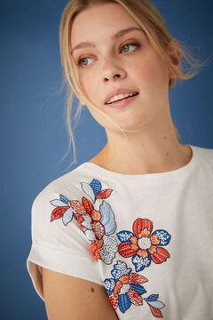 Springfield Virágmintás és gyöngyös biopamut póló fehér