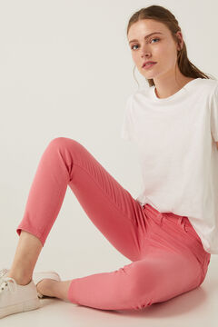 Springfield Pantalón color slim cropped eco dye morado