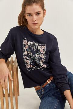 """Springfield """"Bon Vivant"""" pillangó- és virágmintás pulóver kék"""