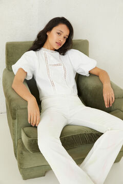 Springfield Lace embroidery blouse white