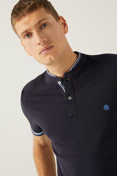 Springfield Slim fit mandarin collar polo shirt with tipping blue