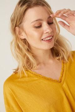 Springfield Camiseta punto cortado escote lace amarillo