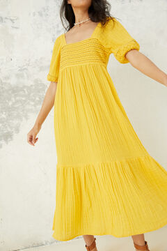 Springfield Long embroidered tunic dress yellow