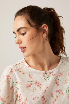 Springfield Crochet shoulders printed T-shirt ecru