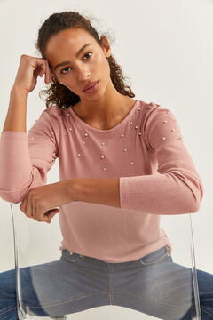 Springfield T-shirt Manches Volume Perles rose